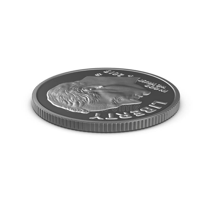 Americano uma moeda da moeda de dez centavos isolada no branco ilustração 3D ilustração royalty free