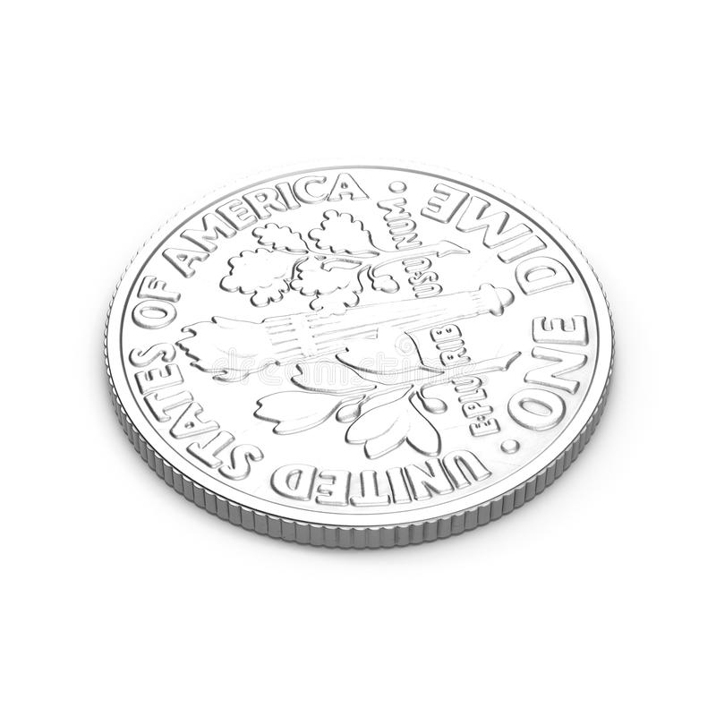 Americano uma moeda da moeda de dez centavos isolada no branco ilustração 3D ilustração stock