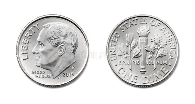 Americano uma moeda de dez centavos, centavo dos EUA dez, moeda de 10 c isolado de ambos os lados sobre foto de stock