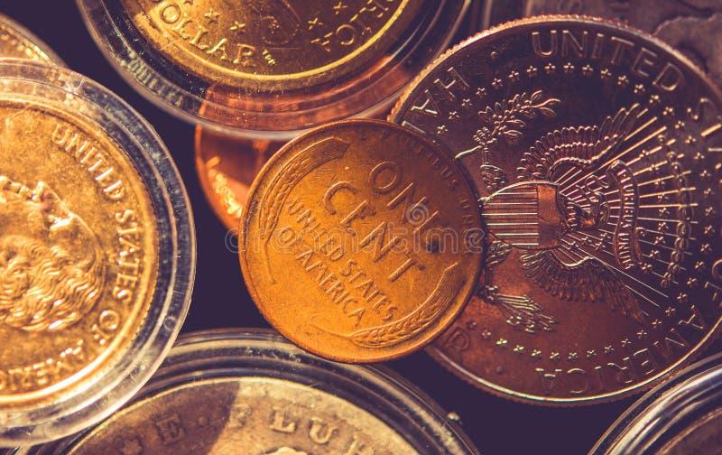 Americano una moneta del centesimo fotografie stock