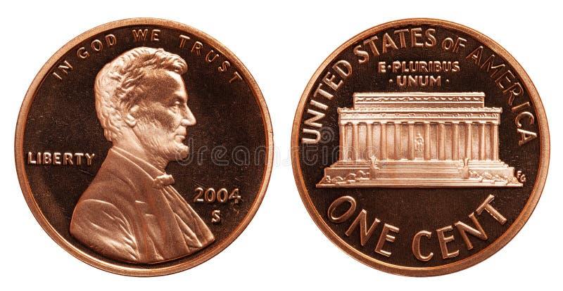 Americano una moneta del centesimo isolata su fondo bianco fotografia stock libera da diritti