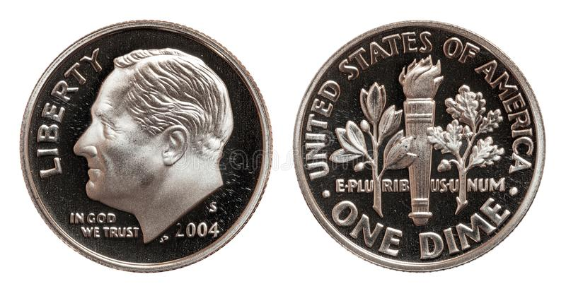 Americano una moneta della moneta da dieci centesimi di dollaro isolata su fondo bianco immagine stock libera da diritti