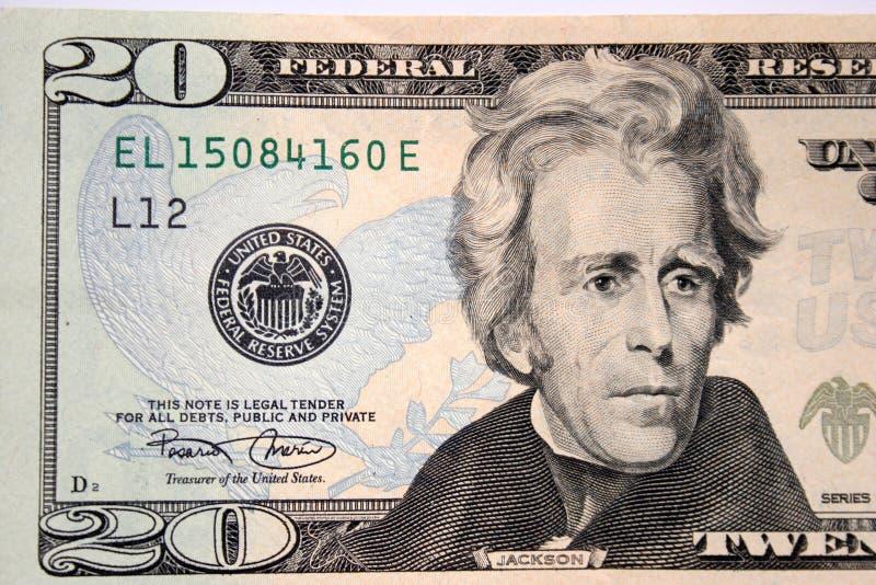 Americano veinte dólares, Andrew Jackson foto de archivo