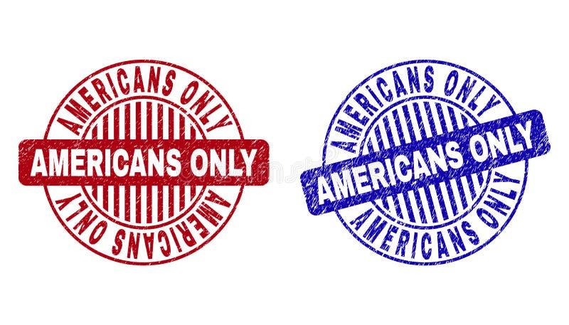 AMERICANOS del Grunge texturizados SOLAMENTE alrededor de los sellos del sello ilustración del vector