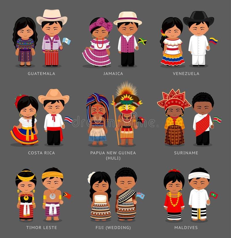 Americanos e asiáticos no vestido nacional ilustração stock