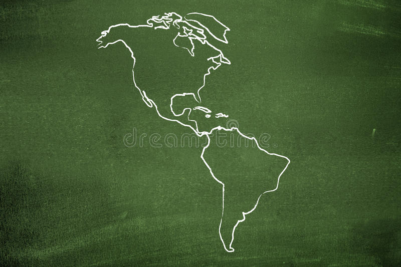 The americas. On a green chalkboard stock image
