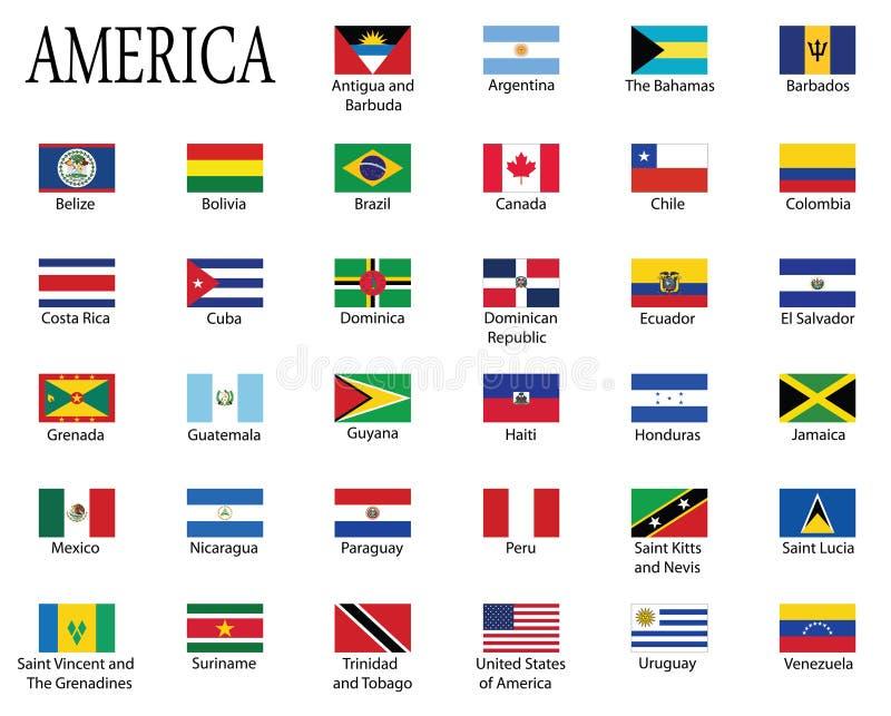 americas flaggor vektor illustrationer
