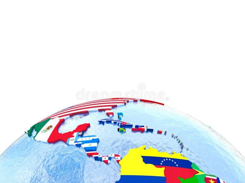 Americas no globo político com bandeiras ilustração royalty free