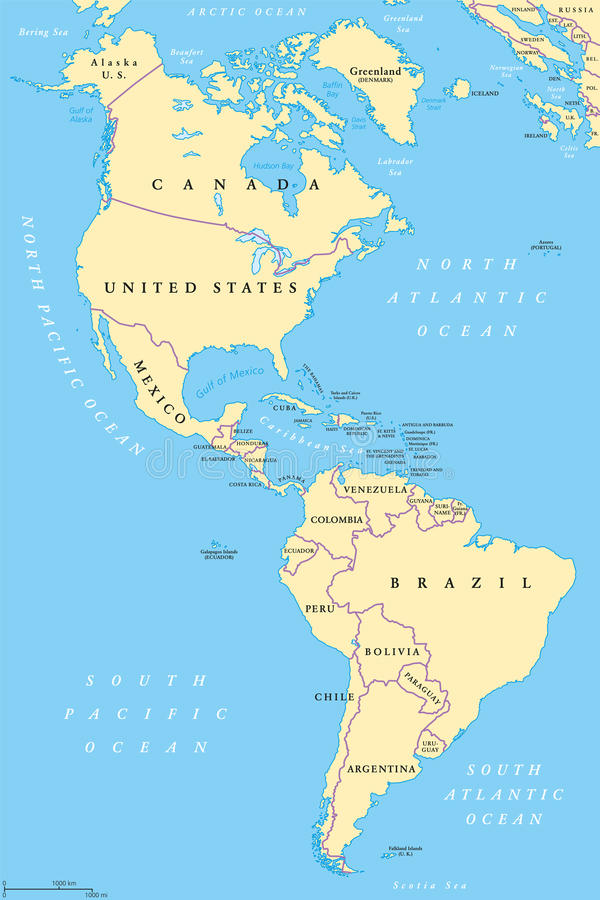 The Americas, North and South America, political map stock illustration