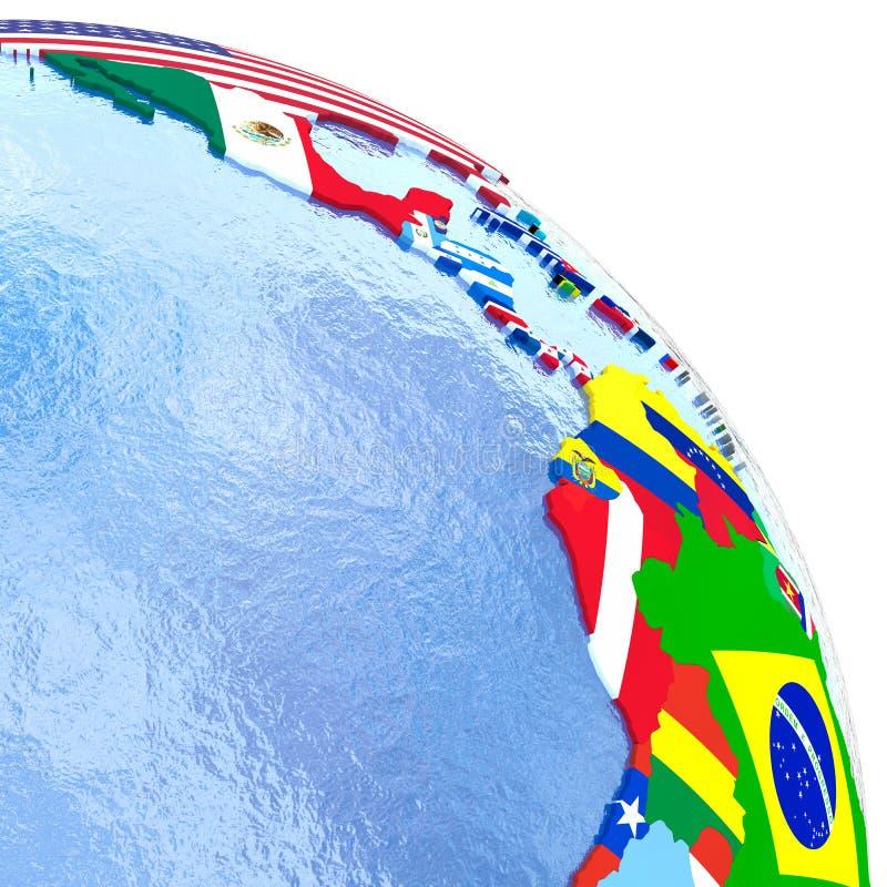 Americas på det politiska jordklotet med flaggor vektor illustrationer