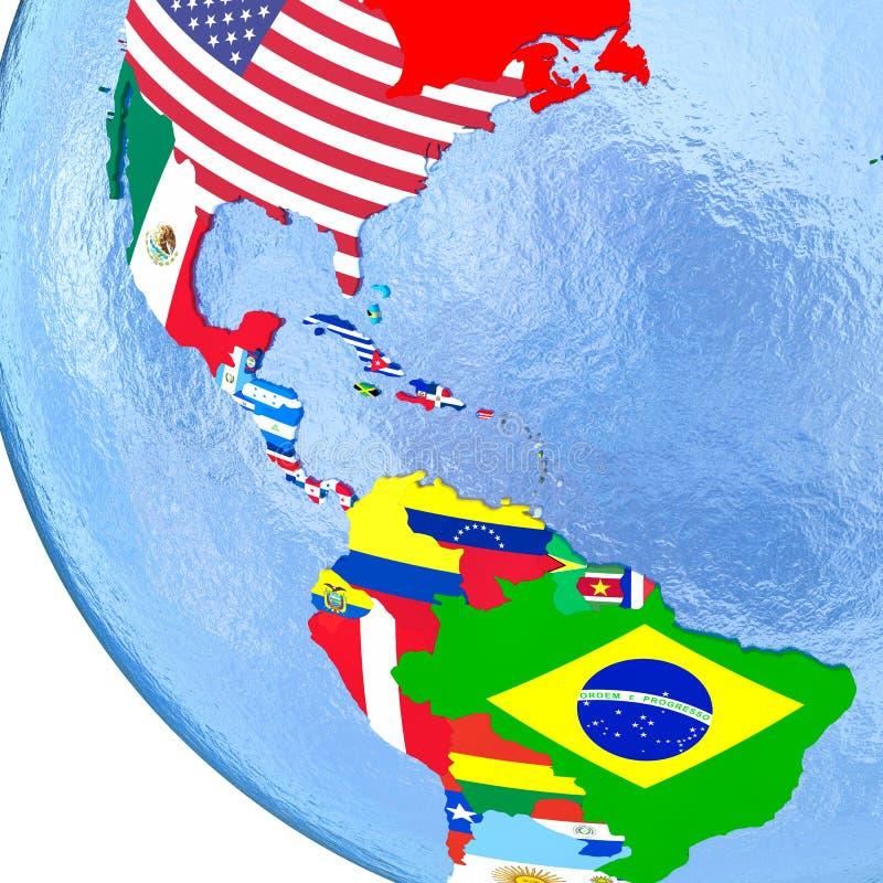 Americas på det politiska jordklotet med flaggor royaltyfri illustrationer
