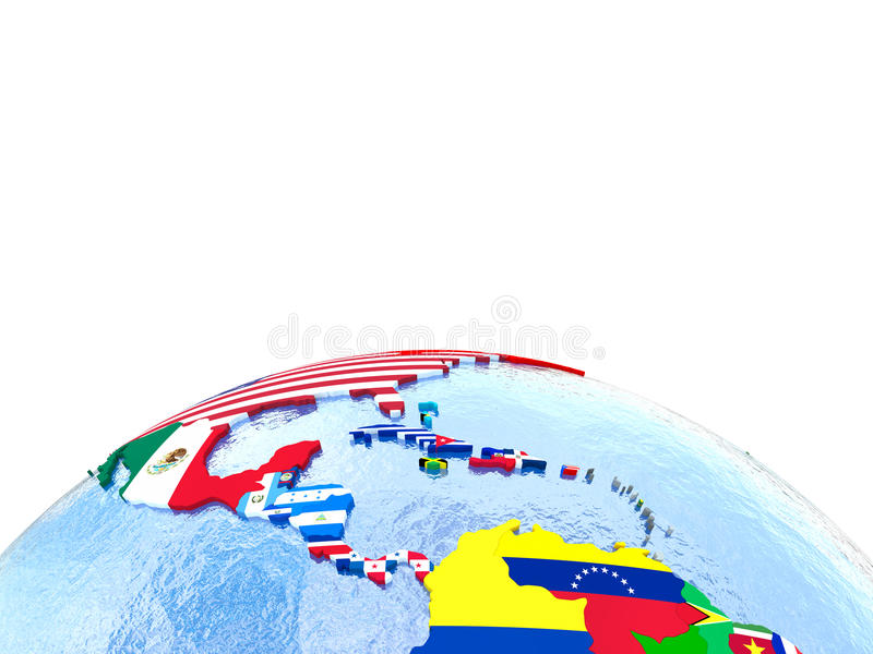 Americas on political globe with flags royalty free illustration