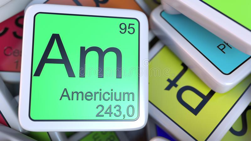 Americium Am block on the pile of periodic table of the chemical elements blocks. 3D rendering vector illustration