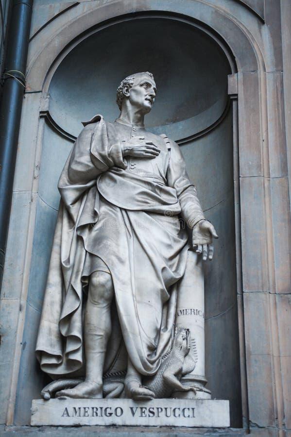 Amerigo Vespucci-standbeeld stock afbeeldingen