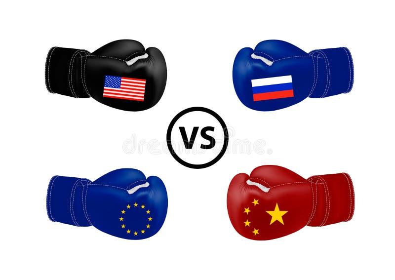 Amerika en de Europese Unie tegen Rusland en China Vector illustratie op witte achtergrond vector illustratie