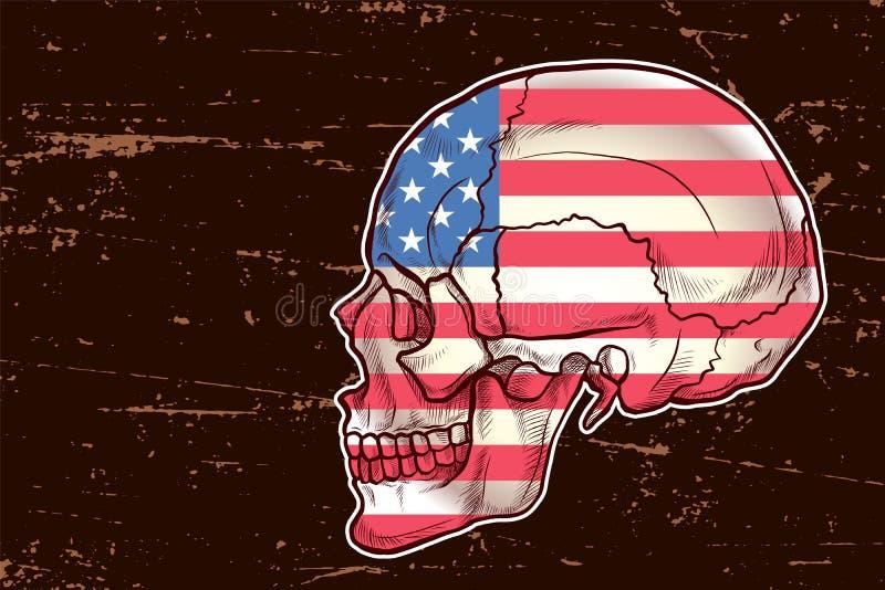 Amerika-Flagge gemalt auf einem Schädel mit Schmutzhintergrund stock abbildung