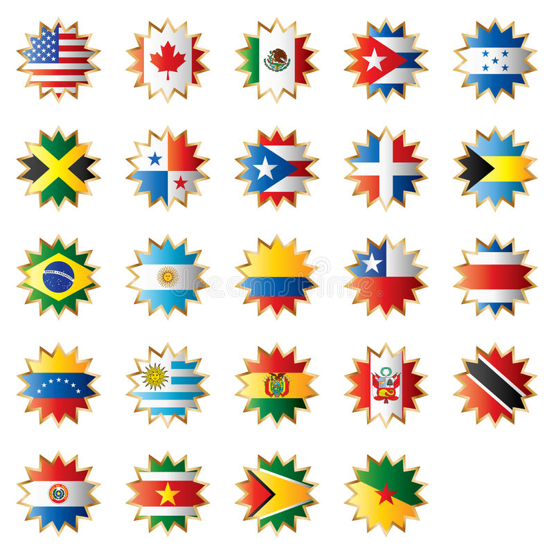 Amerika flaggor formade stjärnan stock illustrationer