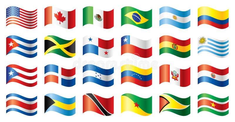 Amerika flaggor ställde in wavy royaltyfri illustrationer