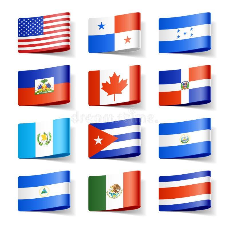 Amerika flags den norr världen stock illustrationer