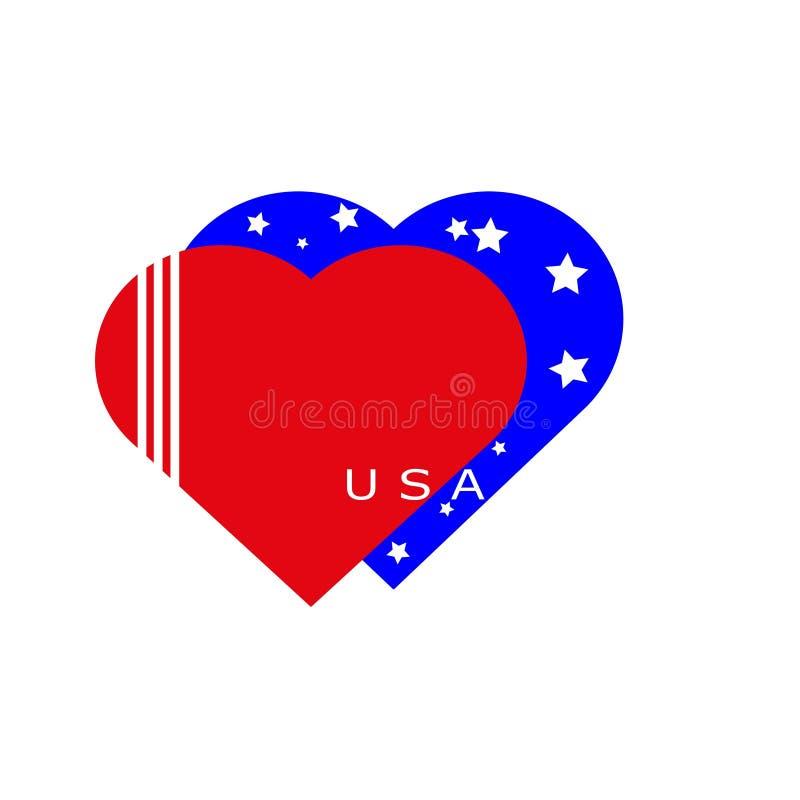 Amerika hjärta Amerika flagga royaltyfri illustrationer