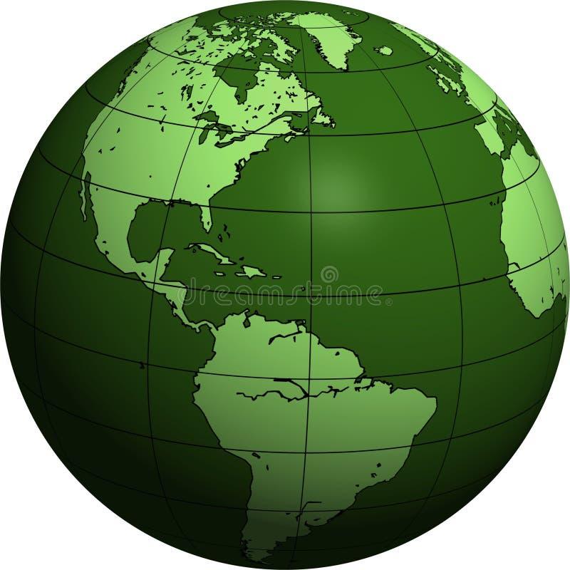 Amerika jordklotgreen vektor illustrationer