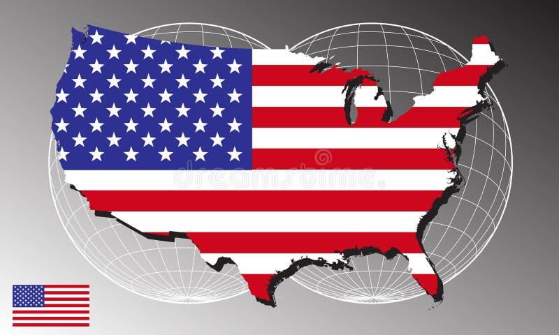 Amerika-Karte und Markierungsfahne lizenzfreie abbildung