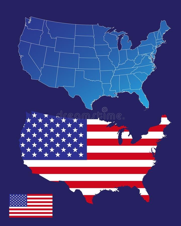 Amerika-Karten und Markierungsfahne stock abbildung