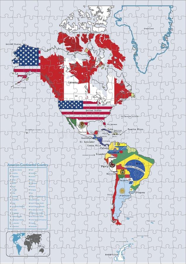 Amerika-kontinentales Landmarkierungsfahnen und -karte Puzzlespiel lizenzfreie abbildung