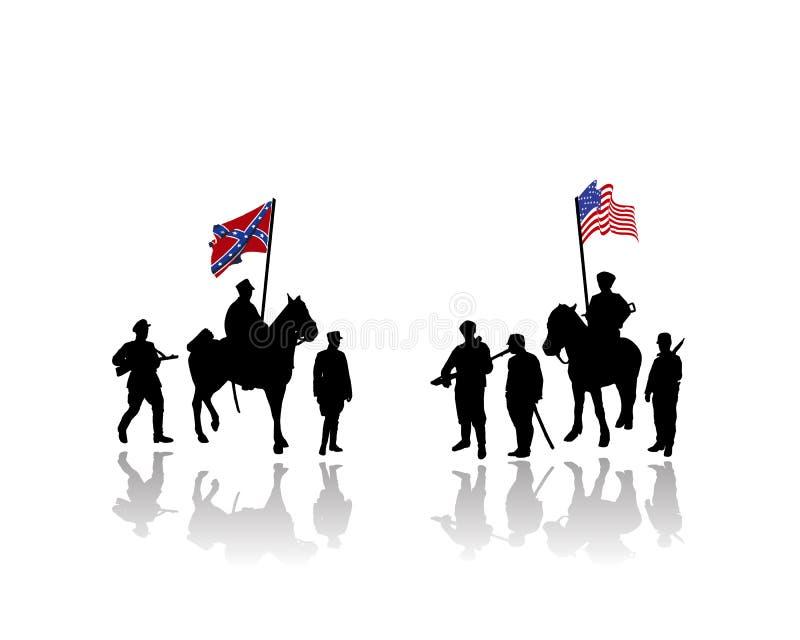 Amerika kriger den borgerliga illustrationen stock illustrationer