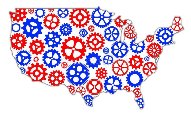 Amerika kugghjul royaltyfri illustrationer