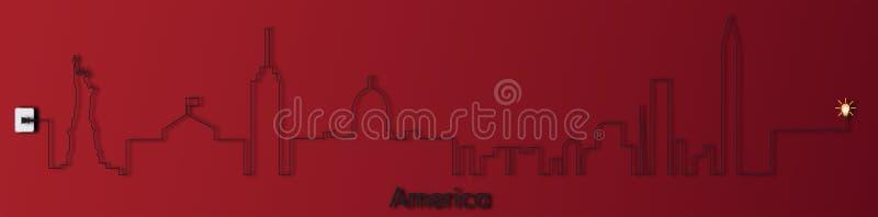 Amerika med håligheten, elektricitet, illustration royaltyfri illustrationer