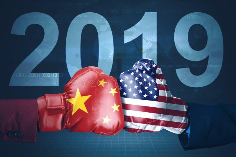 Amerika och Kina handelkrig i 2019 år royaltyfri fotografi