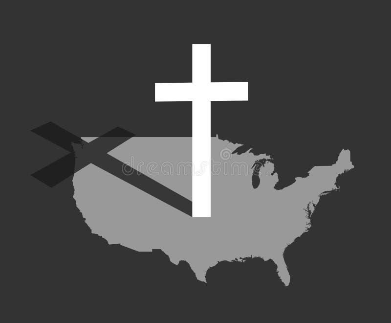 Amerika och kristendomen vektor illustrationer