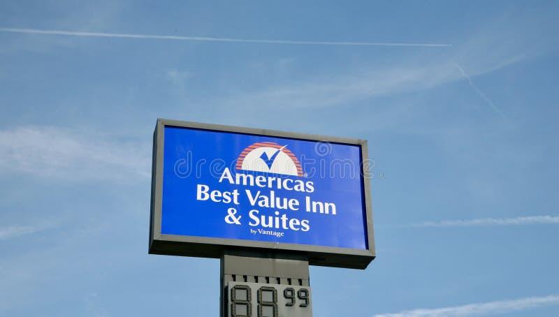 Amerika-` s bestes Wert-Gasthaus u. Reihen stockfotos