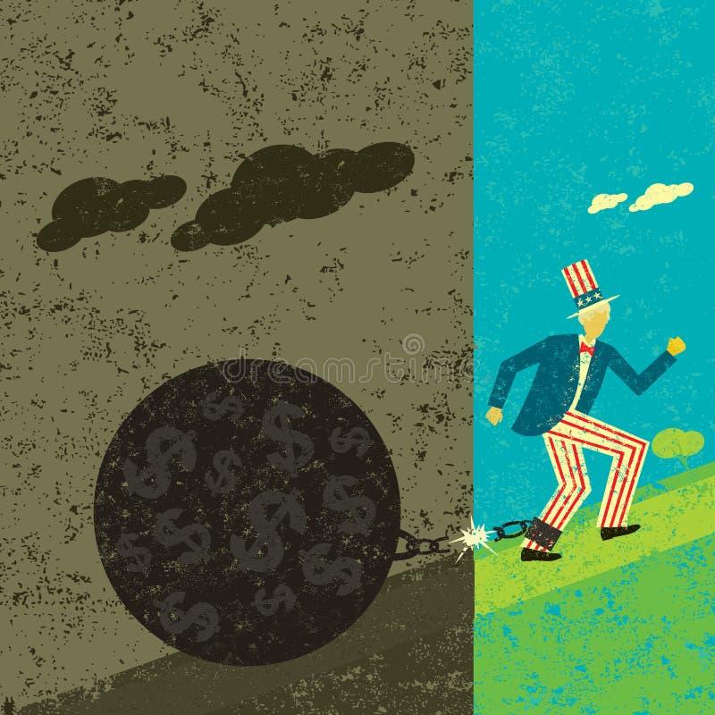 Amerika som fritt bryter från dess statsskuld stock illustrationer
