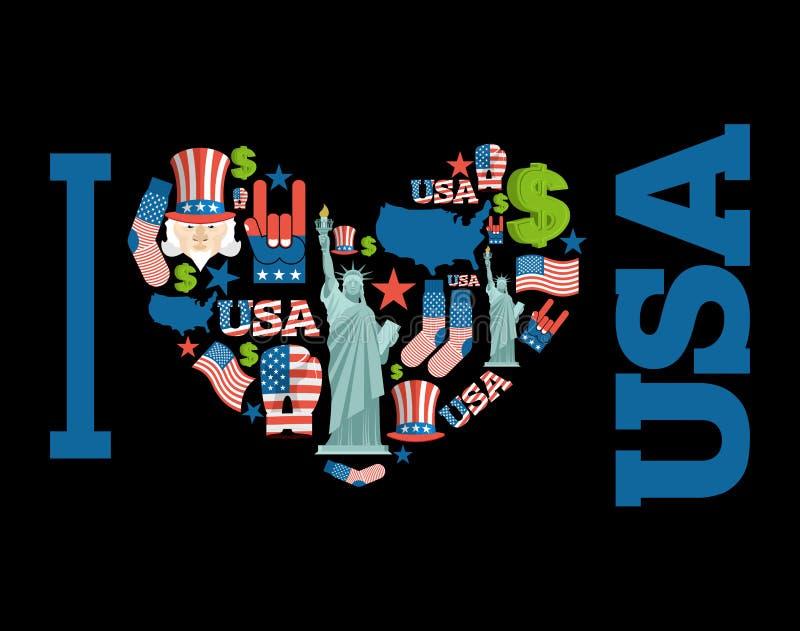 Amerika som jag älskar Teckenhjärta av USA traditionella folk tecken stock illustrationer