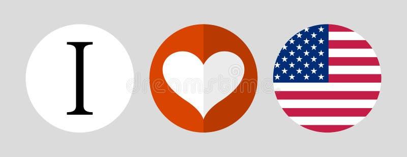 Amerika som jag ?lskar Flagga- och hj?rtasymbol royaltyfri illustrationer