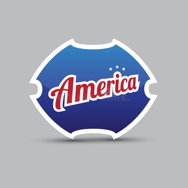 Amerika symbol - blå sköld stock illustrationer