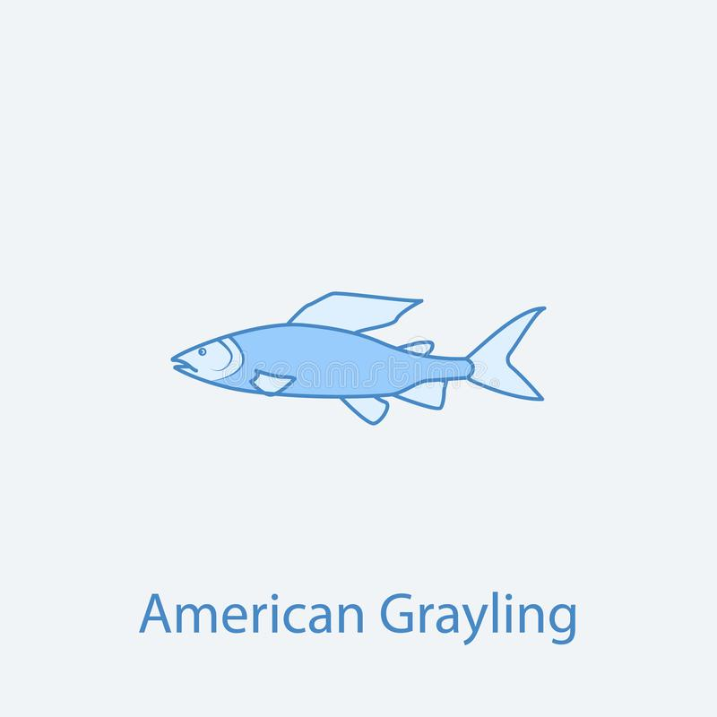 Amerikaan die 2 rassenbarrièrepictogram grayling Eenvoudige lichte en donkerblauwe elementenillustratie het Amerikaanse grayling  vector illustratie