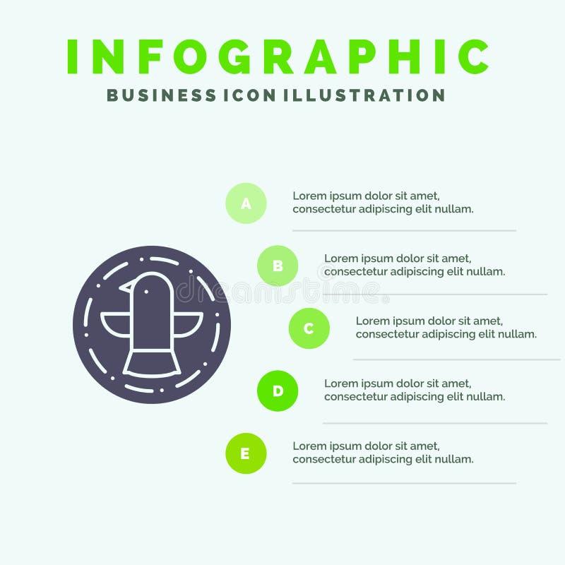 Amerikaan, Vogel, Viering, Eagle Solid Icon Infographics 5 de Achtergrond van de Stappenpresentatie vector illustratie