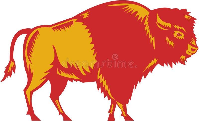 Amerikaans Bison Side Woodcut vector illustratie