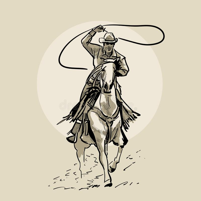 Amerikaans cowboy het berijden paard en het werpen van lasso Hand getrokken illustratie Handschets Illustratie vector illustratie