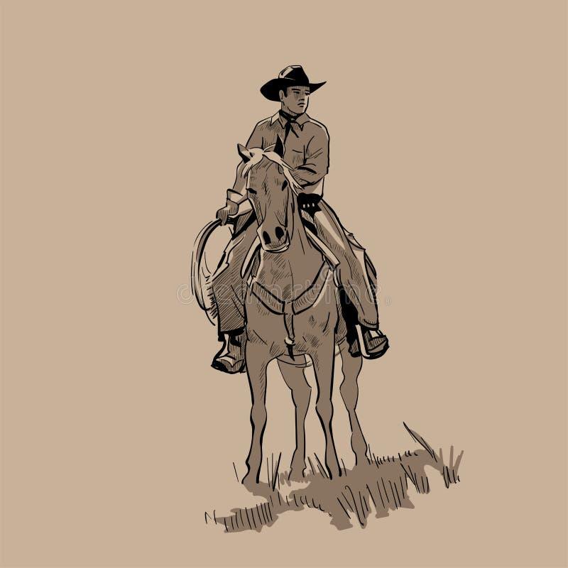 Amerikaans cowboy het berijden paard en het werpen van lasso Hand getrokken vectorillustratie Handschets Illustratie vector illustratie
