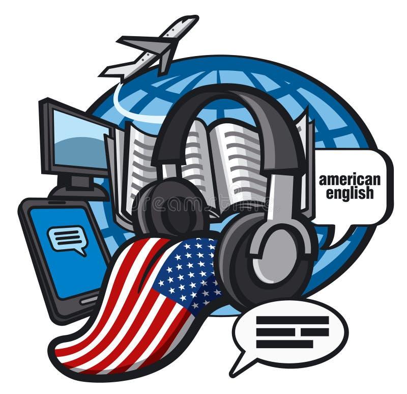 Amerikaans-Engelse taalcursussen stock illustratie
