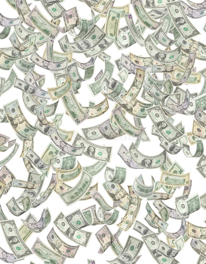 Amerikaans Geld dat onderaan $ regent vector illustratie