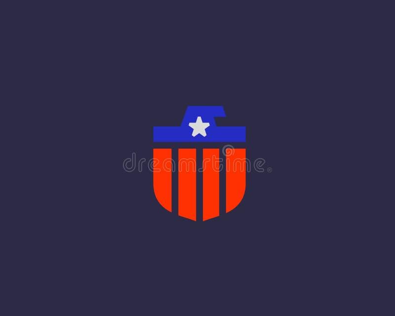 Amerikaans het embleemontwerp van de adelaarsvlag Nationale symboolvector logotype royalty-vrije illustratie