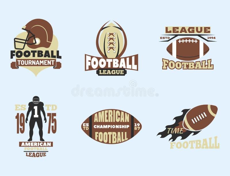 Amerikaans het kentekenmalplaatje van het voetbalkampioenschap voor sportteam met de concurrentievector van het balembleem royalty-vrije illustratie