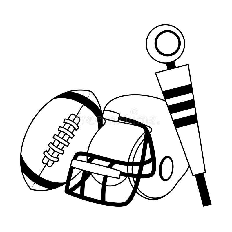 Amerikaans het spelbeeldverhaal van de voetbalsport in zwart-wit stock illustratie