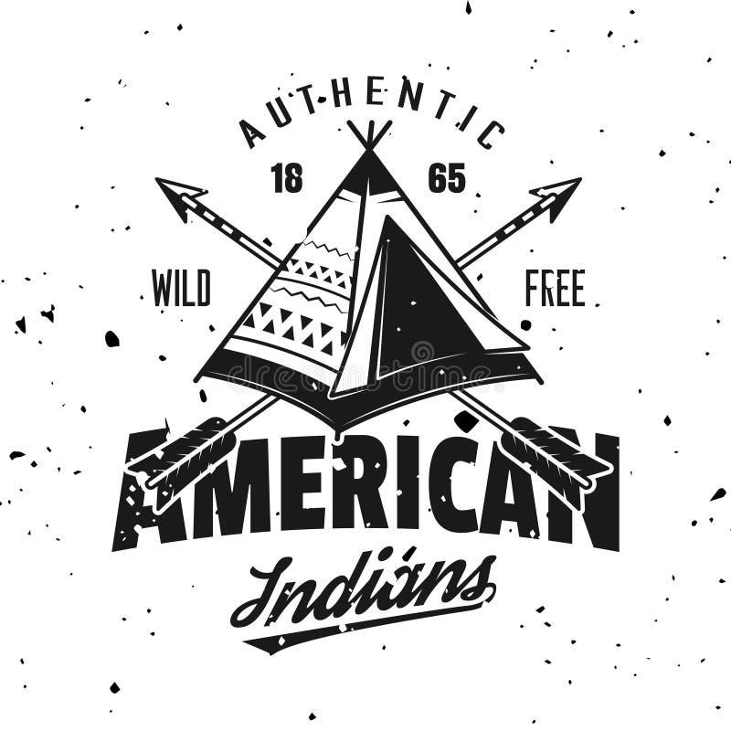 Amerikaans Indisch wigwam vector uitstekend embleem royalty-vrije illustratie