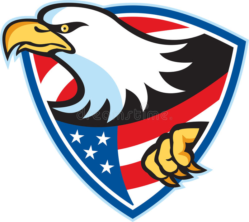 Amerikaans Kaal Eagle Flag Shield stock illustratie